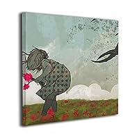 """Namiha ガールパンチ 壁飾り インテリア アートパネル フレーム装飾画 壁画 版画 壁掛け ポスター インテリアボード 16""""x16"""""""