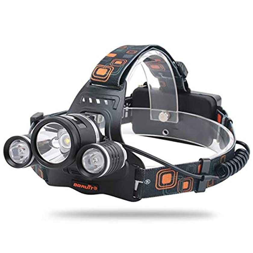 非難するインペリアル裕福なLEDヘッドライト ハイパワー 4のモード[XM-L XML 3 x T6] 充電式 防水超強力 登山 夜釣り (USB充電ケーブル付き)