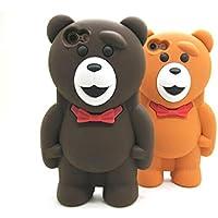 EC37★ 3D silicon Bear Case ★ 最高の触り心地!! テディベアーのキュートなシリコン素材ケース ♪ (iPhone5SE / 5S / 5, ライトブラウン)