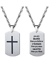 PROSTEEL タグネックレス ステンレス メンズ ペンダント クロス 十字架 アクセサリー お守り シンプル ルーズロープチェーン(シルバー)