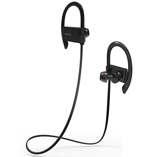 スポーツイヤホン Bovon Bluetooth 4.1 ワイヤレス イヤホン マイク内蔵 ハンズフリー 通話 ノイズキャンセリング機能 高音質 防水 防汗 耳掛け式 イヤーフック付き iPhone/Android スマートフォンなど対応 ブラック