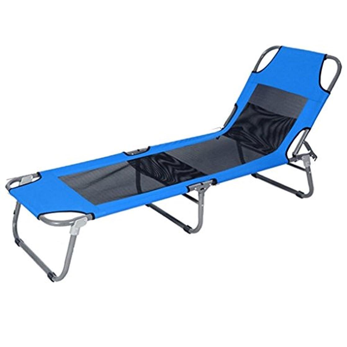 電気征服者繊維折りたたみ式ベッド 折りたたみベッドシングルベッドシエスタベッドシンプルな布ベッドキャビンベッド同行ベッド (Color : Blue, Size : 194*63*29cm)