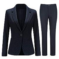 春 秋スーツ レディース ストライプ フォーマル パンツ セットアップ 2点セット (ジャケット + パンツ) スリム ズボン レジャー スーツ 上下 着痩せ 通勤 結婚式 面接 ビジネススーツ おおきいサイズ