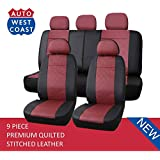 West Coast Auto Premium Quilted Stitched Leather - Universal Car Seat Cover, Airbag Compatible, High Quality (Fits Most Car, Truck, Suv or Van) (Dark Red)