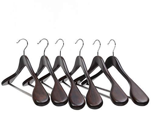 PARACHASE 木製ハンガー セット スーツ・ジャケット・コート用 スラックス用バー付 男性用 胡桃色 6本組