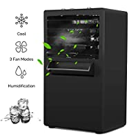 KUUOTE Portable Air Conditioner Fan, Personal Desk Fan Quiet Space Air Cooler Misting Fan Small Table Fan Mini Evaporative Air Circulator Purifier Humidifier for Office Dorm Nightstand, Black 141[並行輸入]