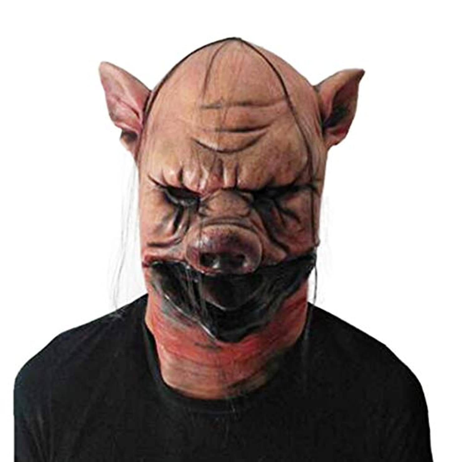 専門知識届ける壁紙ハロウィンホラー豚ヘッドマスクコスプレハロウィンメイクアップパーティーフェスティバルコスチュームマスカレードバーパーティーラテックス豚ヘッドギア