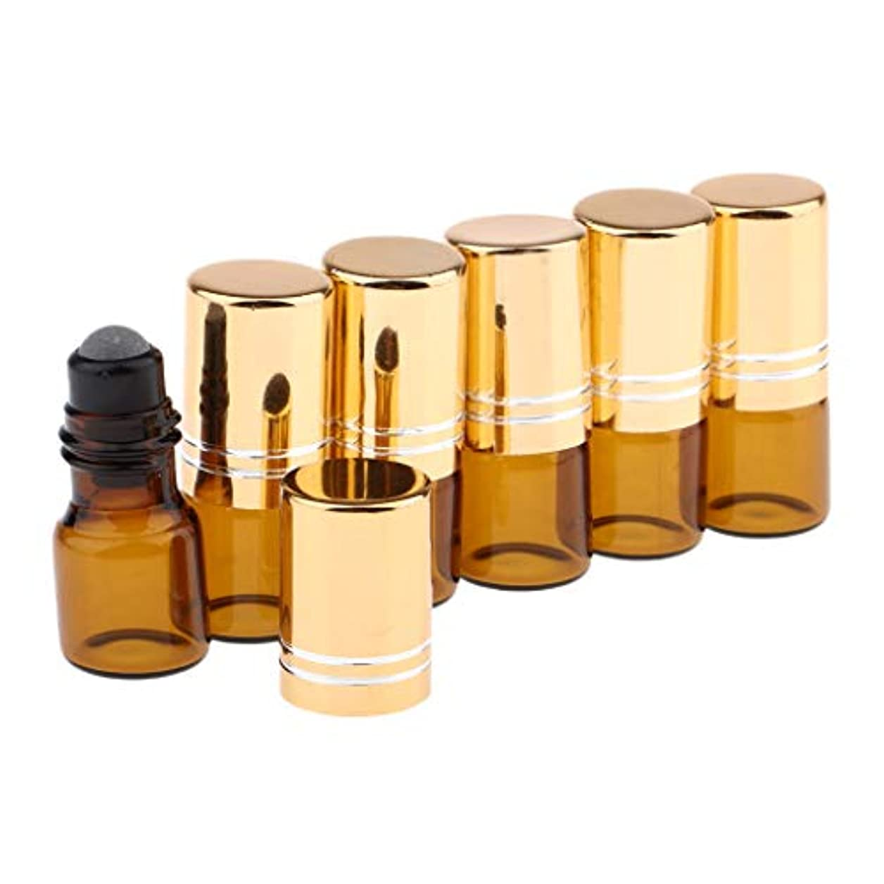 脱臼するドラフト代替CUTICATE ロールオンボトル ガラス容器 化粧品ボトル 2ml 詰め替え 精油 液体 小分け用 保存 6個 全3色 - 金のふた