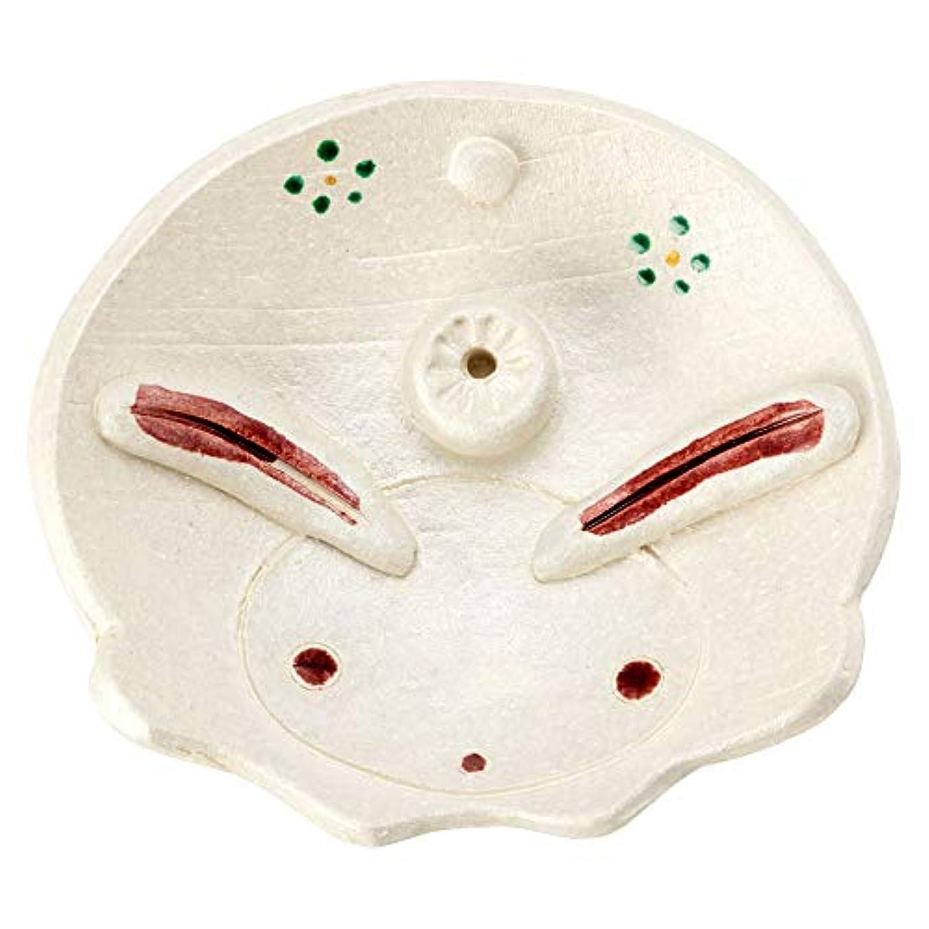 野心的筋パールひさみ窯民芸香立て兎 (K6207)瀬戸焼愛知県の工芸品Seto-yaki Incense stand, Aichi craft