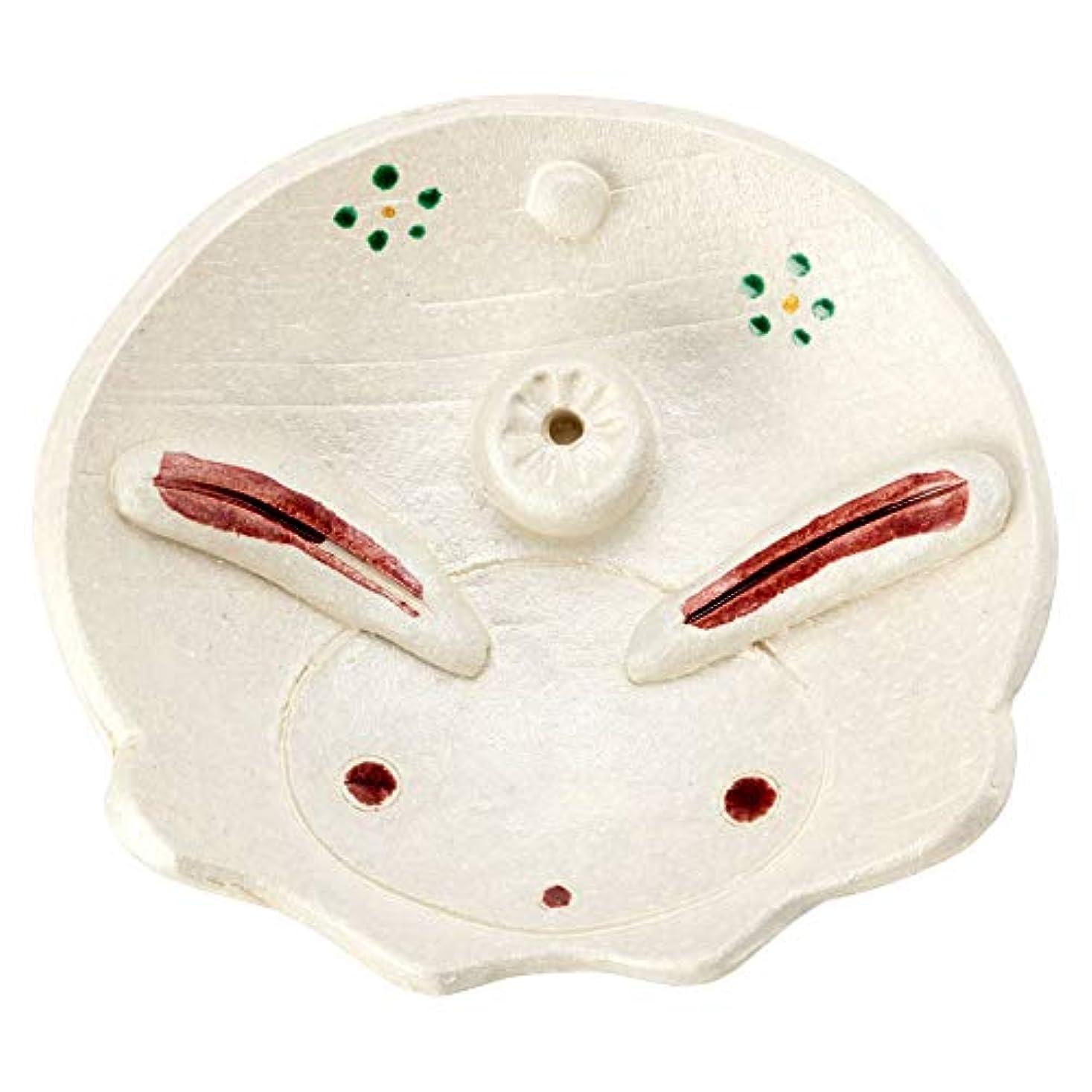 暗殺意味する哺乳類ひさみ窯民芸香立て兎 (K6207)瀬戸焼愛知県の工芸品Seto-yaki Incense stand, Aichi craft