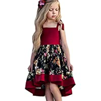 Weixinbuy Kids Baby Girls Floral Adjustable Strap Swing Dresses Sundress Party Clothes 1-5 Years
