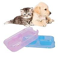 MOLOVET ペットボウル ペット食器 猫皿 犬食器 ダブルボウル フードボウル ウォーターボウル 餌入り ごはん皿 お水入れ ペット用給餌器 プラスチック製 カラーランダム