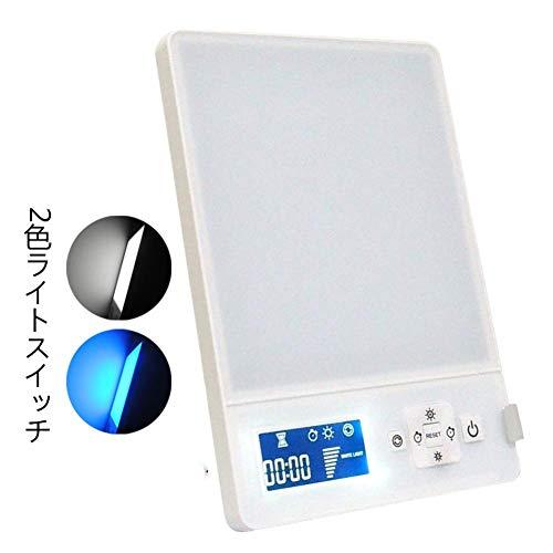 FChome フルスペクトル 10000ルクス光療法 ライトセラピー タイマー ベッドサイドランプ 情動障害 エネルギーライト ランプ 鬱病時期用 カスタマイズ可能なブルー/ホワイト 光強度 LEDライトボックス