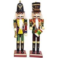 くるみ割り人形 2体セット (高さ約30cm) ヨーロッパの 木の おもちゃ (トランぺッター&ドラマー)