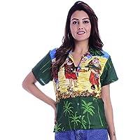 Virgin Crafts Christmas Hawaiian Shirts Womens Button Down Ladies Blouse Santa