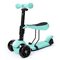 3イン1 子供用キックスクーター 調節可能 3輪キックスクーター 取り外し可能で調節可能なシート付き LEDライトプーリー 2歳~6歳の男の子と女の子用