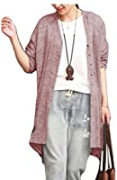 Fly Year-JP レディース秋ロングスリーブボヘミアコットンリネンボタンダウンチュニックシャツ Pink L