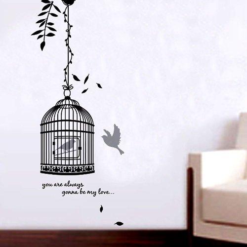 RoomClip商品情報 - YESURPRISE  鳥かご 大きめサイズ ウォールステッカー ウォールペーパー シール リビング/子供部屋/お風呂にもOK♪JM8218-50*70cm