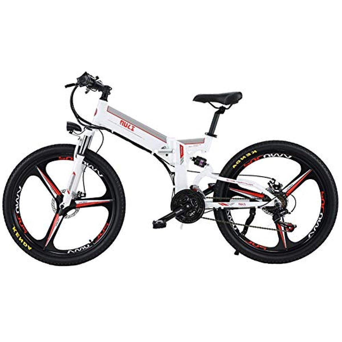 フック宴会ディスパッチ折りたたみ電動自転車、デュアルディスクブレーキ付き26インチ電動自転車、48V / 12Ah取り外し可能なリチウムイオンバッテリー、350Wブラシレスギアモーター、大人に適した電動自転車