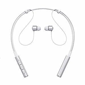 X-LIVE Z6000 Bluetooth イヤホン スポーツヘッドホン ネックバンド型 ブルートゥース イヤホン カナル ワイヤレスヘッドセット 高音質 ハンズフリー 通話 マイク(シールバー)