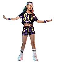 新品入荷 スパンコール ダンス衣装 ヒップホップ ステージ 衣装 ジャズダンス衣装 子供 チアガール 衣装 女の子 上下セット 子供用 キッズ チアリーダー 衣装 社交ダンス セットアップ 発表会 応援団 ダンスウェア (パープル, 110CM)