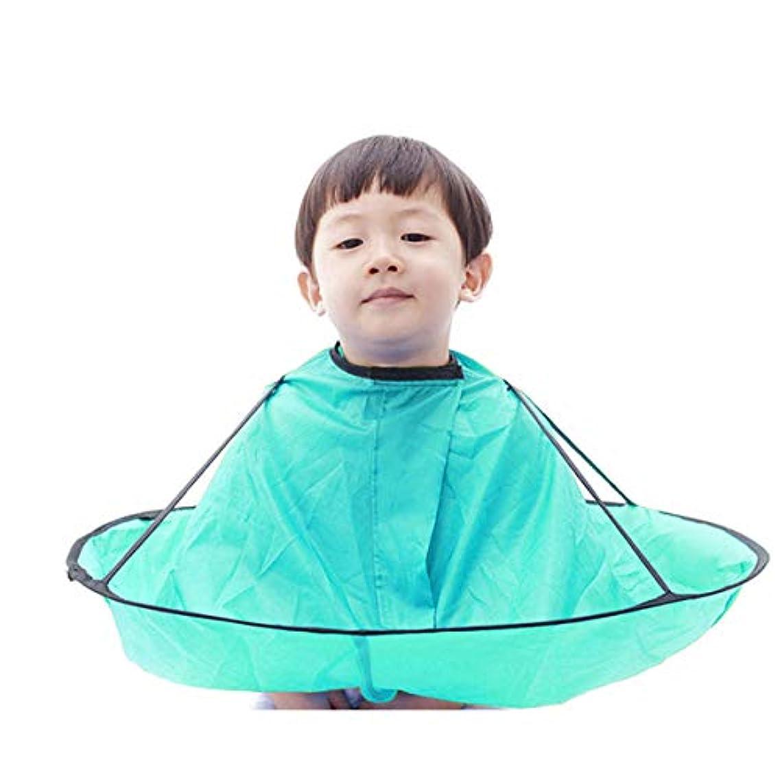 水がっかりする無礼に子供 散髪ケープ ヘアエプロン 散髪マント 刈布 ケープ 散髪道具 防水 水色