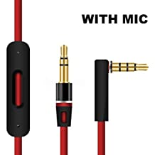 Headphone Earphone Replacement Audio Adapter Cable for Beats by Dr Dre Studio/Solo 1/Solo 2, 3.5mm Aux Cord Jack Remote Volume Control & Mic for iPhone/iPad / iPod