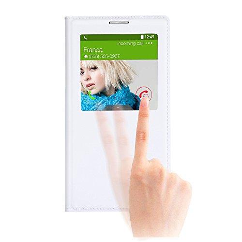 Note 3 ケース, Galaxy Note 3 ケース, Huijukon Elegant S-view Smart Flip Leather ケース カバー with Auto Sleep/Awake Function for Samsung Galaxy Note 3 III (White)
