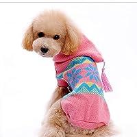 ピンク、M:耐久性のある犬の冬のコートニットブレンドアパレルXS S M L XL 105については2017ペット犬服冬の防寒着