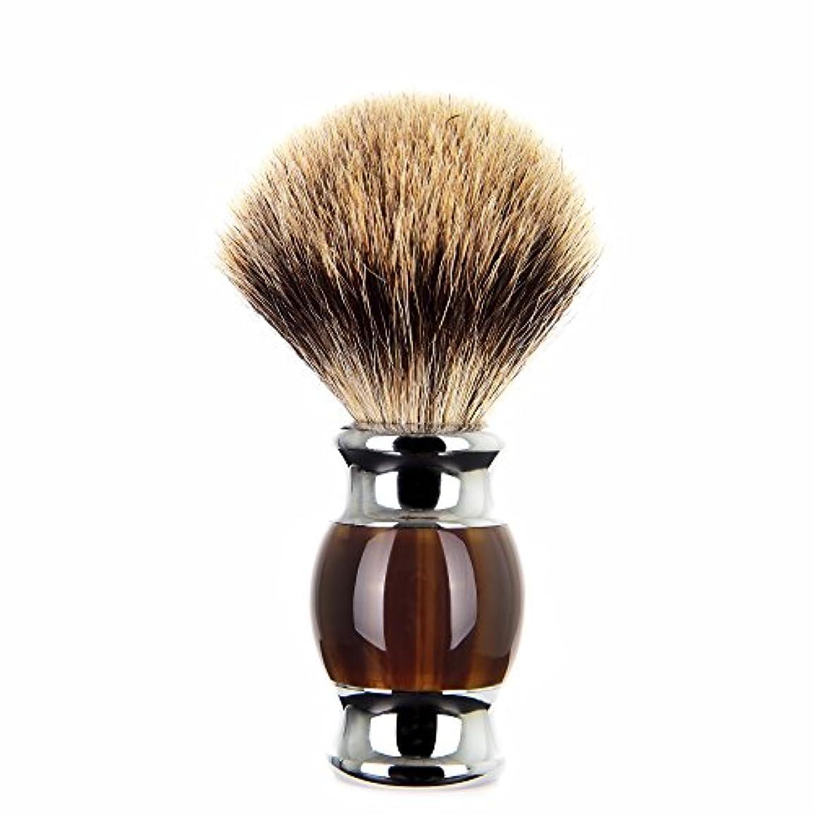 連邦おとうさん語Edow シェービングブラシ高級silvertipアナグマ シェービング 任意 方法 用 重い合金基材と人間工学的ハンドル 備えたブラシ毛。