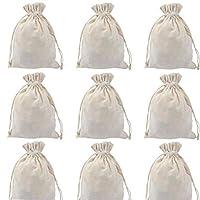 ポの屋 巾着袋 ギフトバッグ ラッピング袋 ジュエリーポーチ 贈り物袋 綿布 小物入れ 無地 12枚