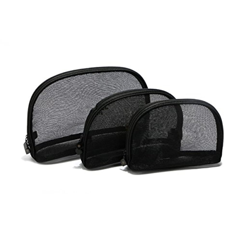 Kingsie メッシュポーチ コンパクト トラベルポーチ 化粧バッグ 透明 クリア 小物入れ 洗面用具入れ コスメポーチ トイレタリーバッグ 3個セット