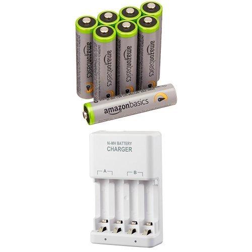 Amazonベーシック 高容量充電式ニッケル水素電池 充電器セット 単4形充電池8個パック付