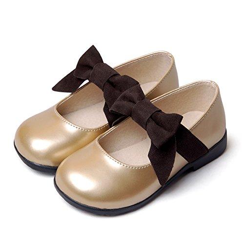 35661fdd83734a HIMOE 女の子 ドレスシューズ フォーマルシューズ 子供フォーマル靴 キッズ 靴 軽量 リボン エナメル 結婚式 入学式 卒業式 七五三 発表会  (内寸:22.5cm, ゴール.