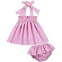 Hipea Infant Newborn Girl Clothes Summer Slip Dresses+Shorts Pants Bloomer 2PCS Baby Girl Sunsuit Outfits Set