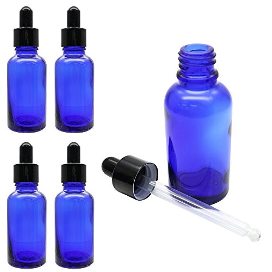 KAURODO 香水やアロマの保存に便利! スポイト付き遮光瓶 ガラス製 30ml 5本セット (ブルー)