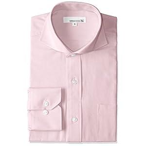 オックスフォード ドレスシャツ 長袖 ワイシャツ Yシャツ シャツ メンズ スリム ピンク カッタウェイ ホリゾンタルカラー DC7003C-4386