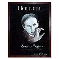 Houdini Souvenir The Magician Vintage Advertising Art Print Framed Poster Wall Decor 12X16 Inch 魔術師ビンテージ広告ポスター壁デコ