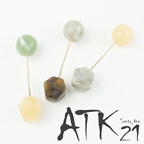 [ATK21] ヘアバトン マーブルカラー 6角形キューブ さすだけ簡単ヘアアクセ ヘアアレンジ ハーフアップ ア...