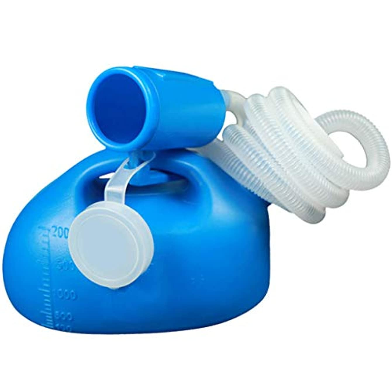 富非公式教えるメンズ2000MLポータブル尿ボトル、再利用可能な男性用小便器、男性用ロングチューブ、蓋付きのこぼれ防止小便器、病院のキャンピングカー旅行に最適(青)