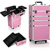 7 In 1 Portable Cosmetics Beauty Case Makeup Box Organiser Trolley Carry Bag with 2 keys