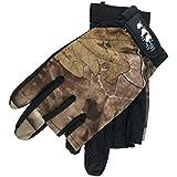 SODIAL Outdoor Sports Fishing Gloves Exposed 3 Fingers Gloves Anti-Hook Waterproof Gloves Wear Camouflage Fishing Gloves Orange Camouflage