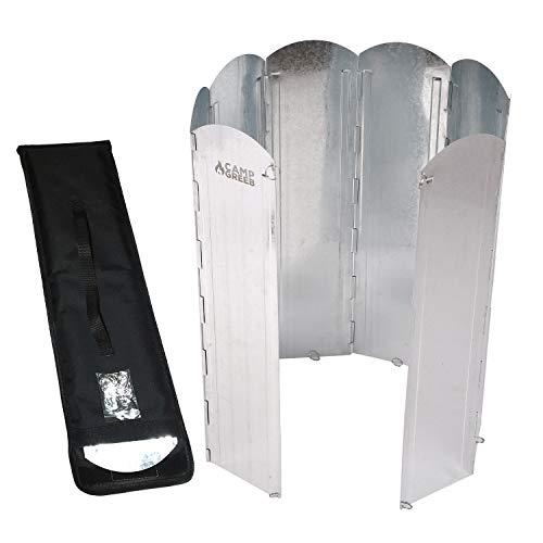 【キャンプグリーブ】大型反射板 大型風防板 8枚連結 長さ120cm 専用手さげつき収納ケース Oリング付属 固定可能 反射式 屋外 屋内 (シルバー, 60)