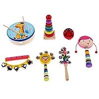 T TOOYFUL 木製パーカッションセット 楽器おもちゃ バンドキット パーカッションセット 全6種類  - 7個-2