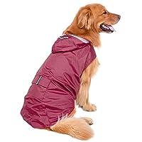 Legendog 犬 レインコート 防水 中型犬 ポンチョ 折り畳み 愛犬 カッパ 着脱簡単 愛犬 雨具 繰り返し洗える ペット 服 耐水性 梅雨対策 レザー 3サイズ選択 (ダークレッド)