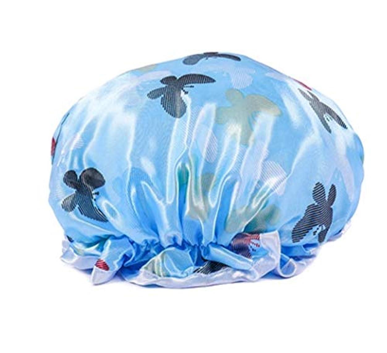 ホバート公平な出発シャワーキャップ 可愛い ヘアキャップ フリーサイズ 防水帽 入浴チャップ 浴用帽子 サロンの髪を保護する帽子 お風呂 旅行セット 繰り返す使用可能 化粧帽 油煙を防ぐ ヘアーターバン (ブルー)