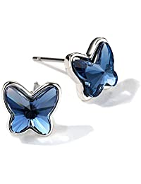 T400 Jewelers Butterfly Earrings for Women Girls made with Crystals Birthday Gift for Her