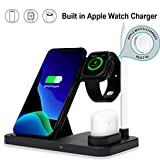 Kartice Compatible with Apple Watch 4 3 2 1 iphone AirPods 2 QIワイヤレス 3 in 1 充電器 18W 急速充電器 置くだけ充電 iphone Xs Xs Max Xr X 10、Samsung Galaxy S10e S10 9 S9 8 S8など各種のQi対応デバイス、Apple Watch Series 4 3 2 1、AirPods対応 QIワイヤレス充電器 (無線充電器・ブラック)