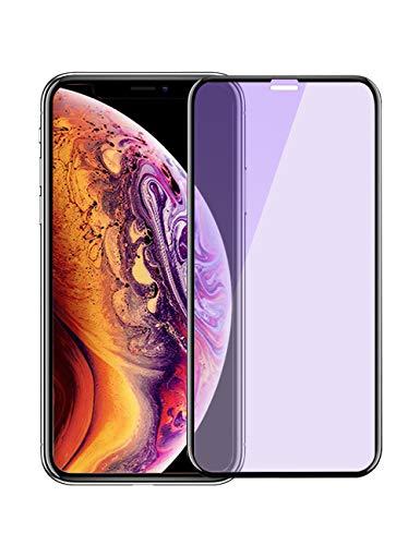 iPhone Xs Max ガラスフィルム ブルーライトカット 全面保護 3D フルカバー 【ガイド枠付き】Apona 液晶保護フィルム 強化 【日本製素材旭硝子製】 極薄0.3mm 高透過率 9H指紋防止 耐衝撃 (iPhone Xs Max 6.5インチ)