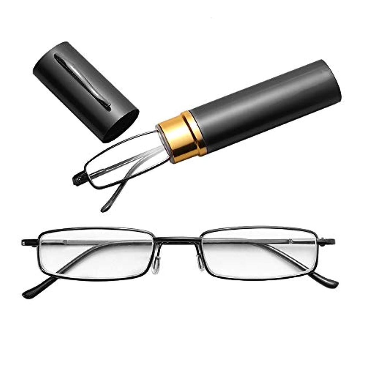 圧倒的ノート尊敬MENGJIA 老眼鏡メタルスプリングフットポータブル老視メガネチューブケース付き+ 1.00D(ブラック)YANG (色 : 黄)